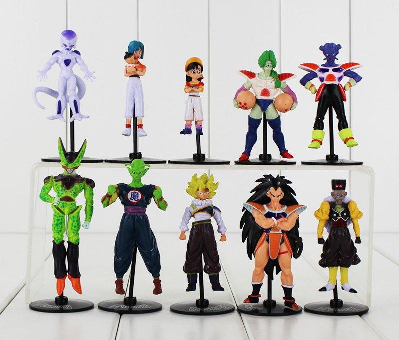 10pcs/lot Dragon Ball Z GT Figure Toy Goku Vegeta Goten Cell Frieza Piccolo Master Roshi (B)