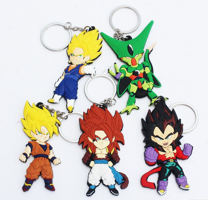 5pcs/lot Anime Dragon Ball Z Keychains Goku Vegeta Cell Vegetto Super Saiyan Figure
