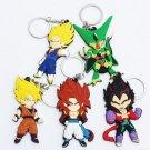 5pcs/lot Anime Dragon Ball Z Keychains Goku Vegeta Cell Vegetto Super Saiyan Figure