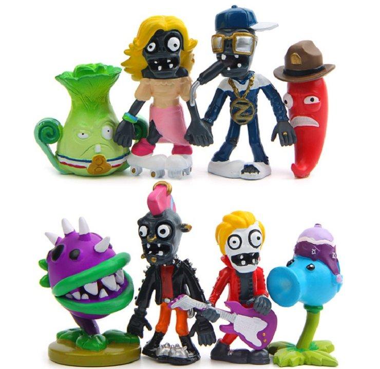 8pcs/lot PVZ Plants vs Zombies 6 Figure Toy Plants and Zombies PVC Action Figures