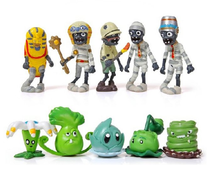 10pcs/lot 3-8cm PVZ Plants vs Zombies 2 It's About Time Plant and Zombies Figures Toys