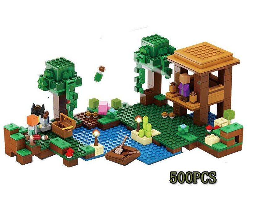 New Lepin 500pcs My World Minecraft The Witch Hut anime Building Blocks Bricks fun Toys