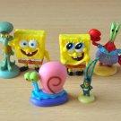 6pcs/lot 3cm Spongebob Action Figures Doll Patrick Star Squidward Tentacles