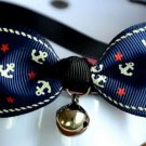 Safety Dog Cat Pet Collar Cute Bow Tie Dog Collars With Bell Puppy Kitten Necktie Collar Blue Anchor