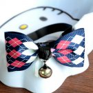 Safety Dog Cat Pet Collar Cute Bow Tie Dog Collars With Bell Puppy Kitten Necktie Collar Blue Square