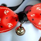 Safety Dog Cat Pet Collar Cute Bow Tie Dog Collars With Bell Puppy Kitten Necktie Red Anchor