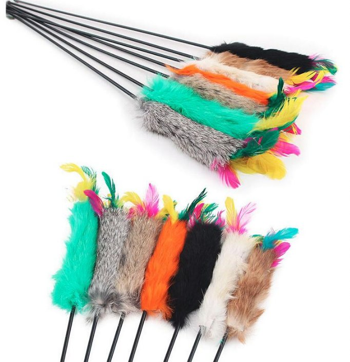 1Pcs 55cm Random color Feather Wand Stick Catcher Teaser Toy Pet Kitten Jumping Train Aid Fun