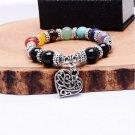 Rainbow 7 Chakra Healing Balance Beads Bracelet Peach Heart Pendant Reiki Prayer Stones