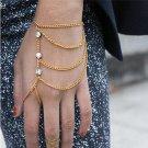 Handmade European Style Gold Bracelet Copper Hand Finger Bracelet Rhinestone Bracelet