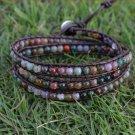 Trendy Leather Birthstone Bracelet Wrap Bracelet Beaded Bracelet 4mm Beaded Bracelet