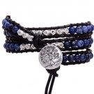 Natural Stone Leather Bracelet Elastic Quartz Crystal Friendship Bracelets (Blue)