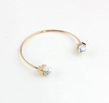 Classic Colorful Druzy Natural Stone Round Arrow Anchor Shape Cuff Bangle Crystal Quartz (Opal)