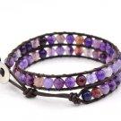 Leather Purple Natural Stone Bracelet Wrap Bracelet Beaded Bracelet 4mm (Purple)