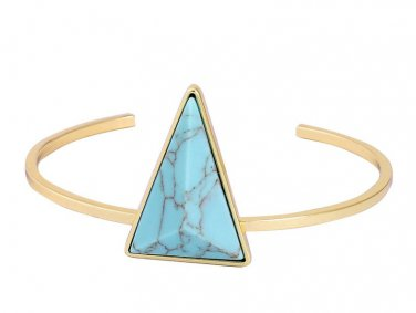 Gold Color Chain Blue Stone Bracelets Triangle Shaped Natural Stone Bangles