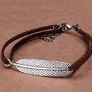 Vintage Korean Gun Black Velvet Leaf Embedded Double Ropes Trendy Charm Bracelet (Brown)