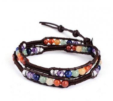 Natural Stone Chakra Beads Bracelet Multilayer Wrap Adjustable Braided Rope YB772