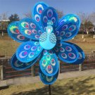 Double Layer Peacock Laser Sequins Windmill Colourful Wind Spinner Home Garden (Blue)