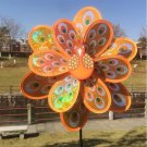 Double Layer Peacock Laser Sequins Windmill Colourful Wind Spinner Home Garden (Orange)