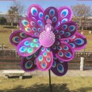 Double Layer Peacock Laser Sequins Windmill Colourful Wind Spinner Home Garden (Purple)