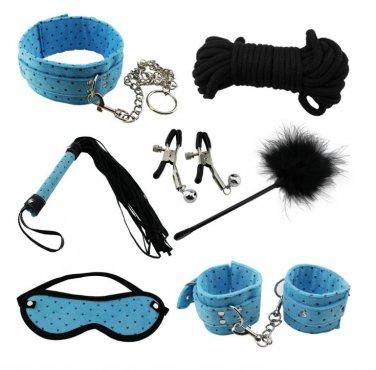 7pcs Beingner Fetish SM Slave Couple Handcuffs Bondage Sex Bed Restraints Kit (Blue)