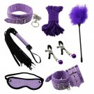 7pcs Beingner Fetish SM Slave Couple Handcuffs Bondage Sex Bed Restraints Kit (Purple)