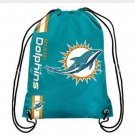 35*45 cm Miami Dolphins drawstring backpack with free shipping knitted polyester material
