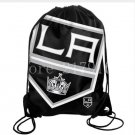 35*45 cm knitted polyester Los Angeles Kings backpack sports bag with rope Metal Grommets