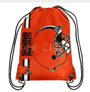 35*45 cm cleveland browns knitted polyester drawstring backpack with rope