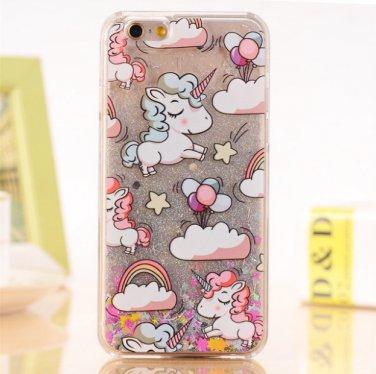 Case Cover Lovely Unicorn Dynamic Liquid Bling Star For iPhone 5 5s 5se 6 6s 7 7 Plus