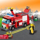 New arrival 206pcs Fire Truck Building Blocks Small Particles DIY Action Figure Toys