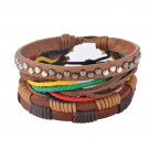 1Set (3-4PCs) Leather Bracelet Multilayer Bead Bracelet Punk Wrap Bracelets (08123)