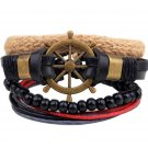 1Set (3-4PCs) Leather Bracelet Multilayer Bead Bracelet Punk Wrap Bracelets (14537)
