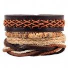 1Set (3-4PCs) Leather Bracelet Multilayer Bead Bracelet Punk Wrap Bracelets (14528)