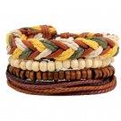 1Set (3-4PCs) Leather Bracelet Multilayer Bead Bracelet Punk Wrap Bracelets (14518)