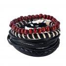1Set (3-4PCs) Leather Bracelet Multilayer Bead Bracelet Punk Wrap Bracelets (02429)