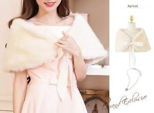 NEW Formal Dress Champagne Wedding Fur Bolero Shawls Shrug Size L with Ribbons