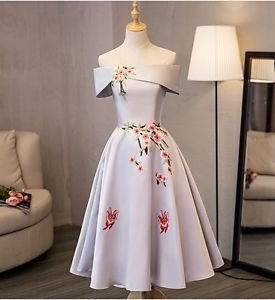 Hej!Fika Evening Dress Satin Off the Shoulder Embroidered Floral A Line Applique