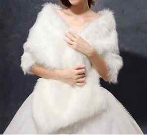 US NWT Bridal Fur Shawl Cape Ivory Long Stripe None Size Wedding Formal Pageant