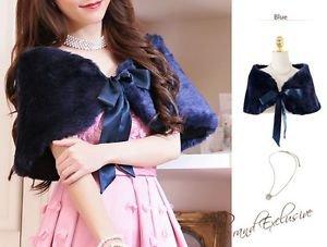 Regular Size Blue Indigo Deluxe Faux Fur Shawl Bridal Wrap Bolero Stole Satin