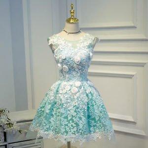 Hej!Fika Formal Party Dress Tulle Pouf A-Line Aqua Green Floral Applique Lace Up