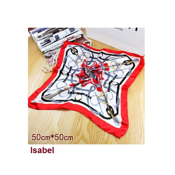 Red Ivory Faux Blend Silk Scarf Neckerchief Bandanna Fashion Squared 20*20in