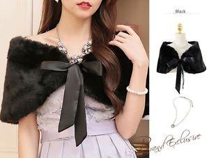 One Size Black Deluxe Wedding Faux Fur Shawl Bridal Wrap Bolero Shrug Ribbons