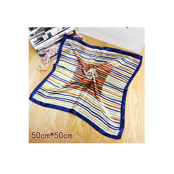 New Blue Bandana Faux Blend Silk Scarf Bank Uniform Fashion Squared 20*20in