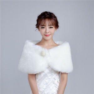 NWT Value Ivory Fur Shawl Bolero Bridal Wrap Pearls Brooch Wedding Prom Pageant