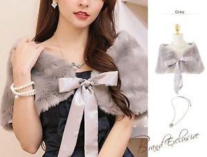 Grey Satin Ribbons Bridal Wrap Wedding Faux Fur Shawl Bolero One Size Regular