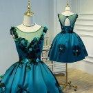 Hej!Fika Formal Evening Pageant Dress Satin Emerald Green Sleeveless Sheer Short