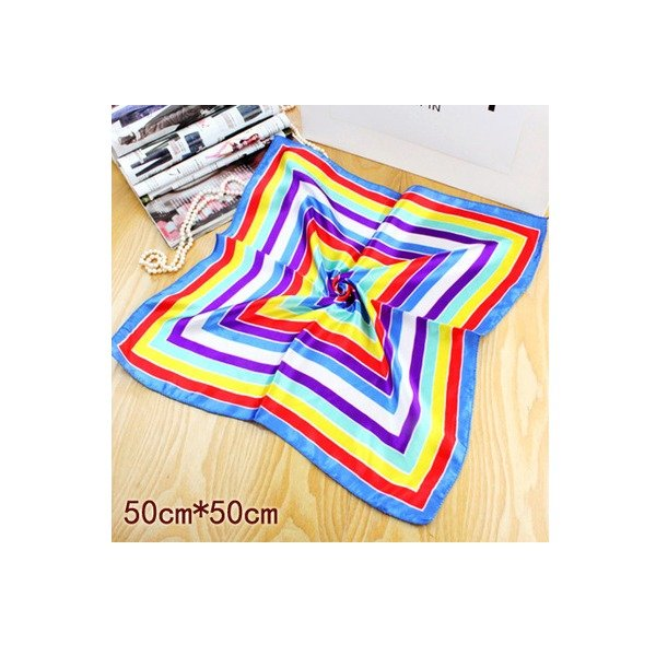 New Rainbow Bandana Neckerchief Silk Scarf Bank Uniform Fashion Squared 20*20in