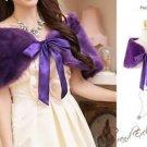 Size S-M Purple Grape Deluxe Wedding Wrap Faux Fur Bridal Shawl Bolero Shrug