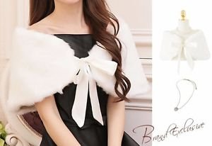 NEW Deluxe Bridal Wrap Faux Fur Shawl Ivory Size M Wedding Shrug Bolero Ribbons