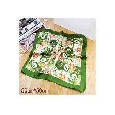 NWT Neckerchief Silk Scarf Bandanna Green Floral Print Square 20*20in 50*50cm